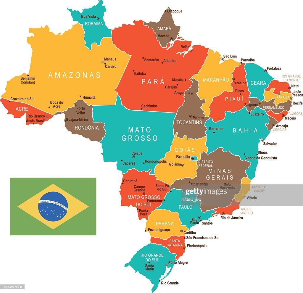 Colored Brazil Map