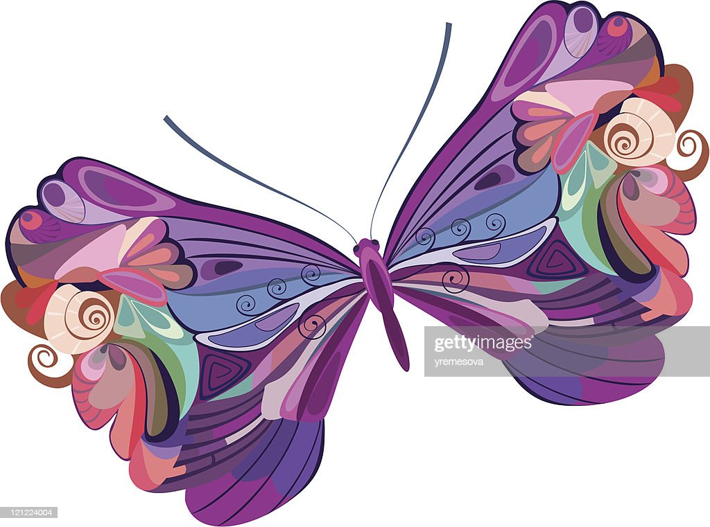 colored butterfly : stock illustration