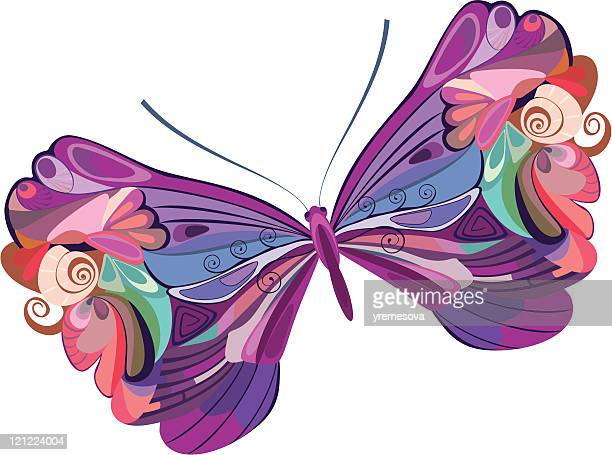 colored butterfly - animal limb stock illustrations, clip art, cartoons, & icons