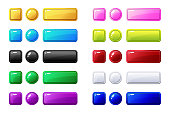 Colored buttons, Big set for Game or web design element,