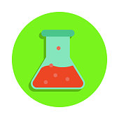 colored chemical fluid in vitro in green badge icon. Element of science and laboratory for mobile concept and web apps. Detailed chemical fluid in vitro icon