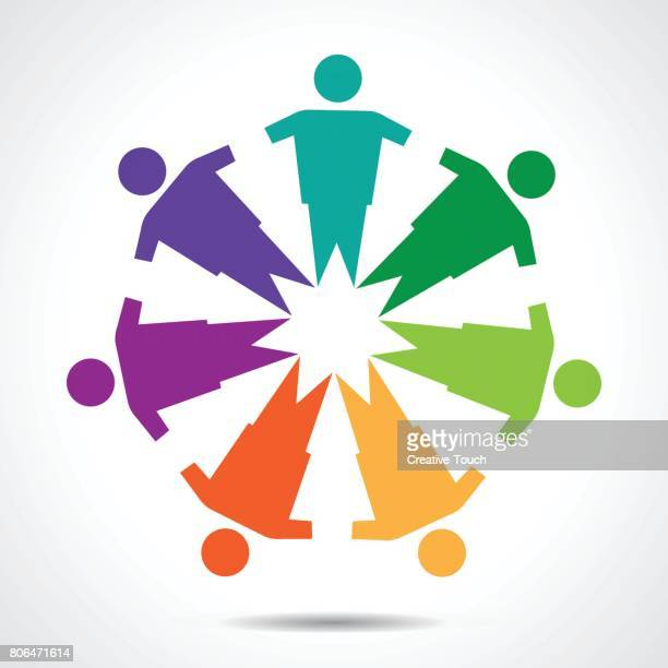 colored community, unity, friendship and solidarity - office park stock illustrations