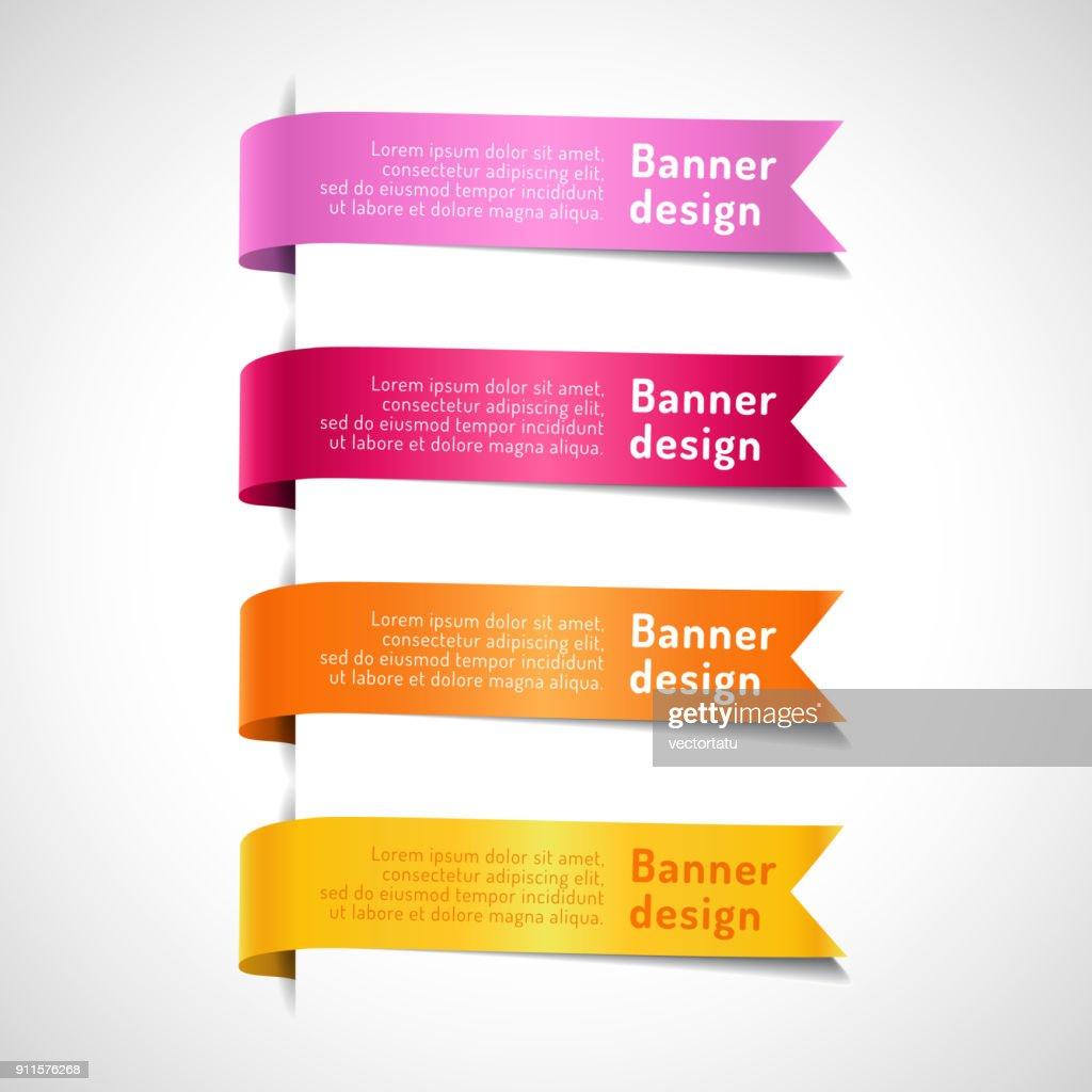Colored decorative arrow ribbons set