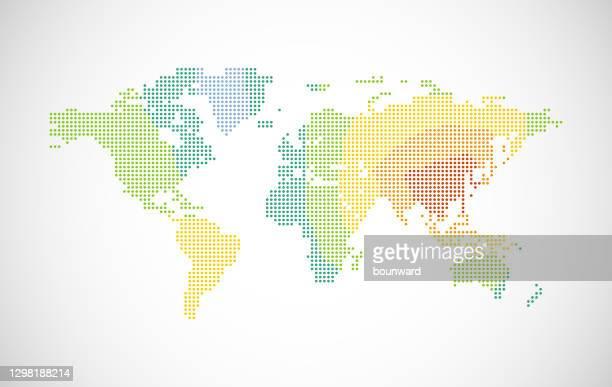 色付きの点線の世界地図 - 西点のイラスト素材/クリップアート素材/マンガ素材/アイコン素材