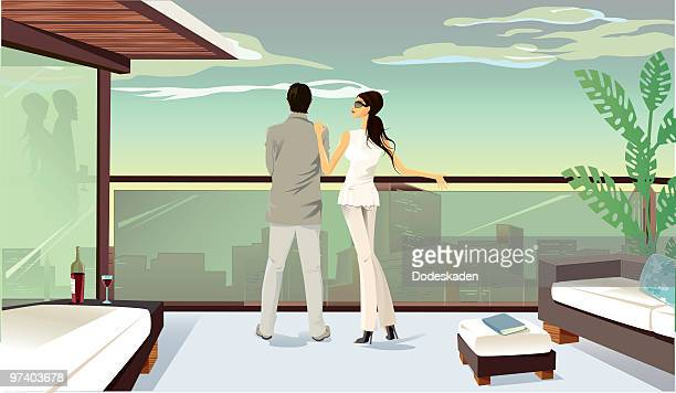 A colored drawing of a couple looking over a balcony