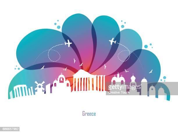 colored drops and greece - santorini stock illustrations