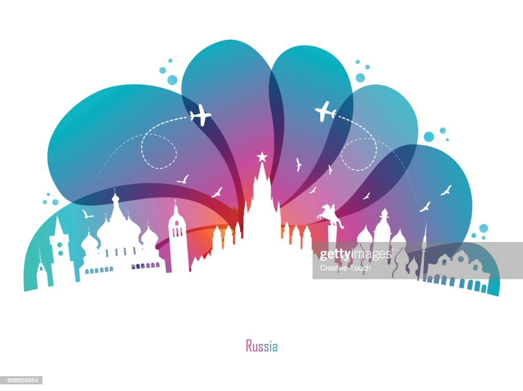 Colored Drops and Russia : stock illustration