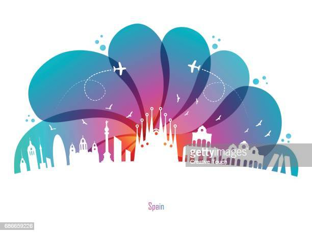 colored drops and spain - seville stock illustrations, clip art, cartoons, & icons