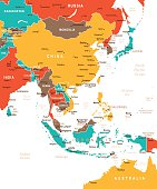Colored East Asia Map