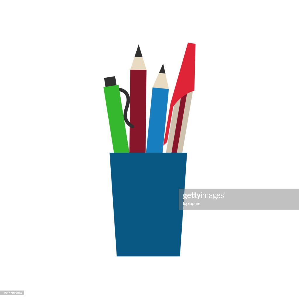 Colored engineering office pens and pencils vector illustration