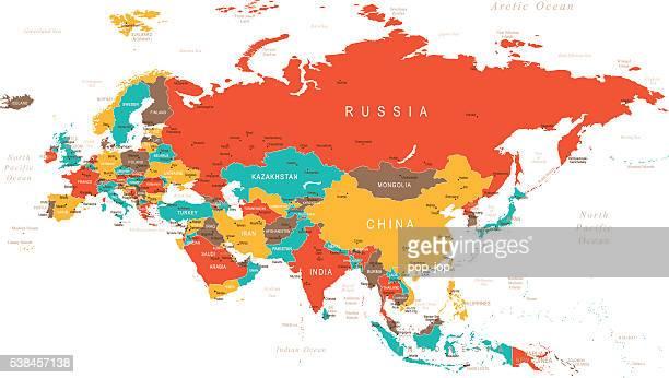 色のユーラシア大陸マップ