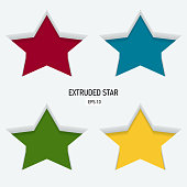 Colored extruded stars on a white background.