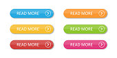 Colored flat buttons collection isolated. Colorful buttons read more. For web or applications.