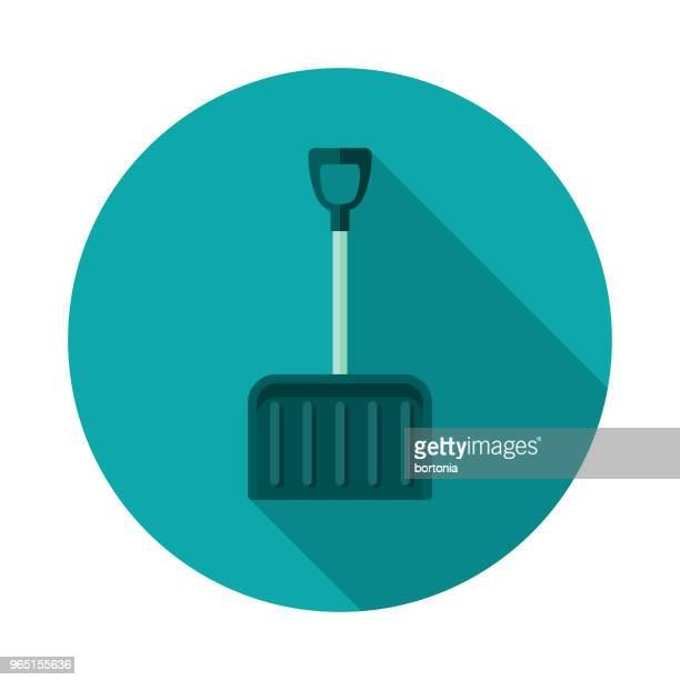 snow shovel flat design winter icon with side shadow - snow shovel stock illustrations