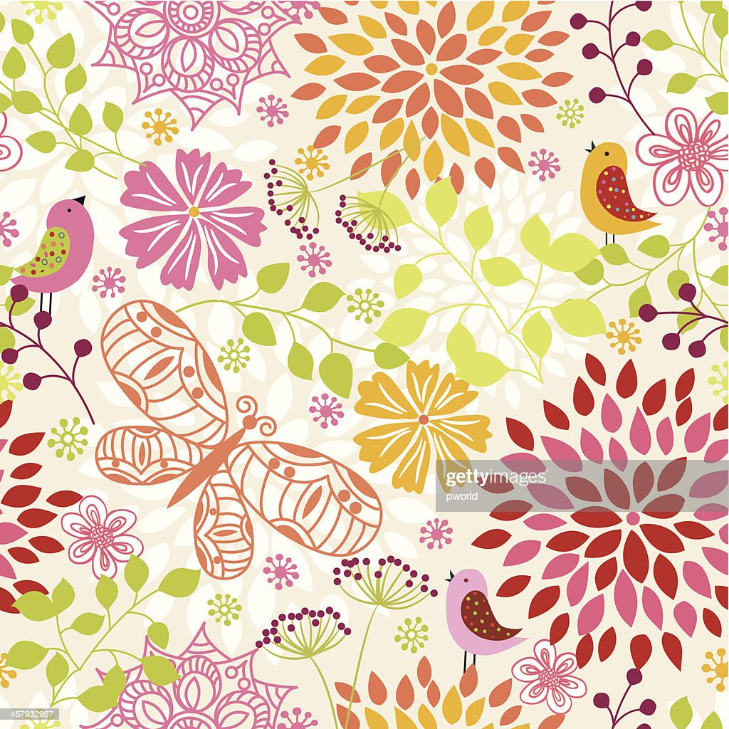 A Colored Floral Pattern Background With Butterfly And Birds High