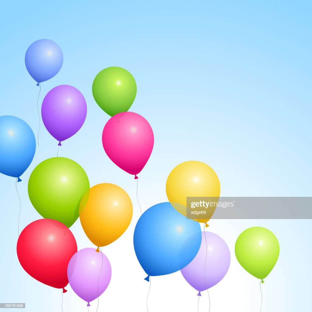 Colored flying balloons in the sky