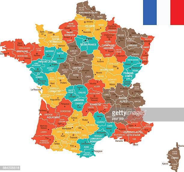colored france map - midi pyrénées stock illustrations, clip art, cartoons, & icons