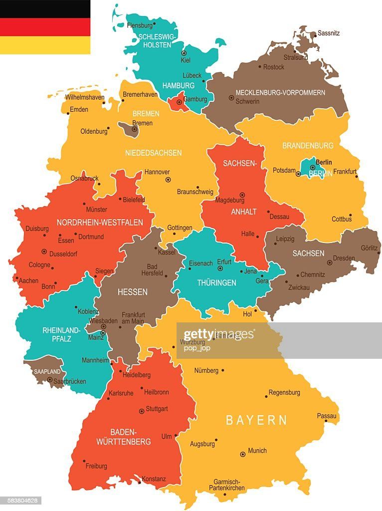Colored Germany Map Vector Art Getty Images