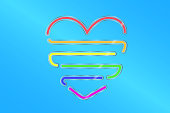 Colored gloss glass in form of heart and color of lgbt flag on blue background. Minority rights protection concept. Vector illustration eps 10