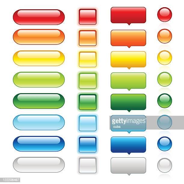 farbige glänzenden web-schaltflächen-set 1 - schwarz farbe stock-grafiken, -clipart, -cartoons und -symbole