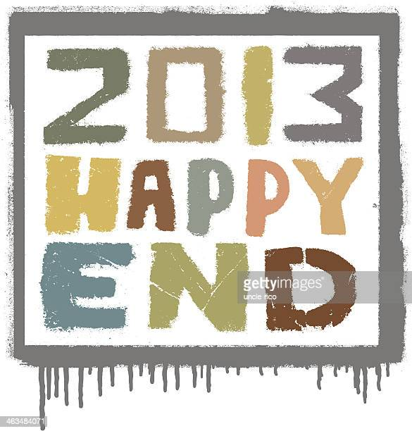 colored happy end 2013 - glühend stock illustrations