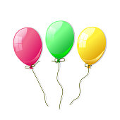 Colored helium fly balloons - vector