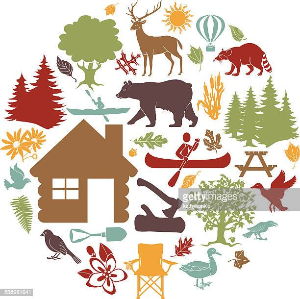 colored icons cabin outdoor recreation theme arranged in circular shape
