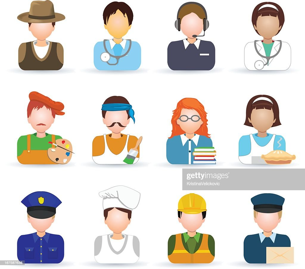 Colored icons of several professions