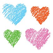 Colored illustration with love hearts on white. Set of funny hearts.