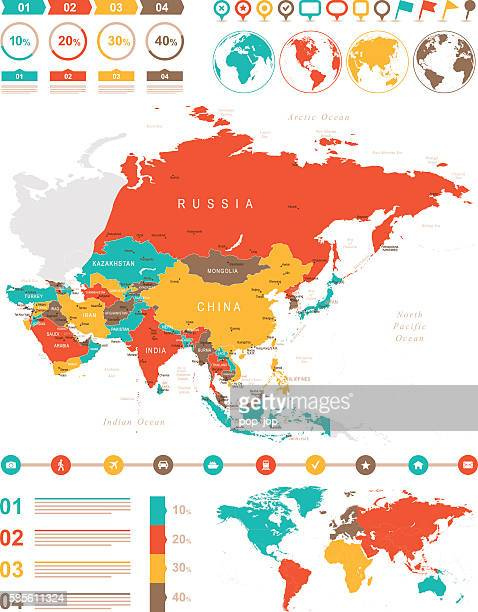 Colored Infographic Asia Map