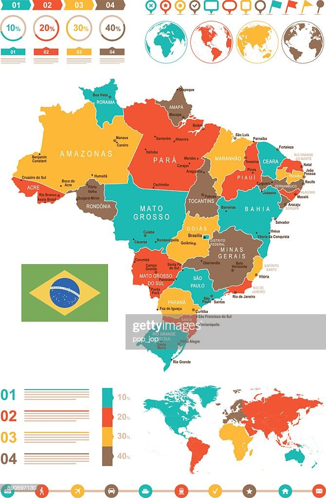 Colored Infographic Brazil Map Stock-Illustration - Getty Images