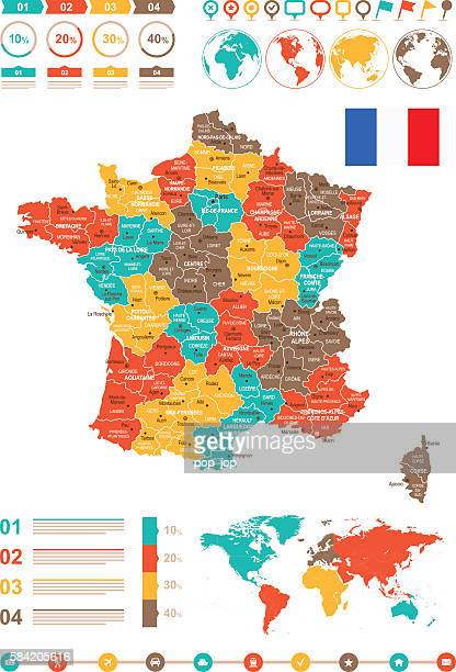 Colored Infographic France Map