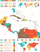 Colored Infographic Map of Central America