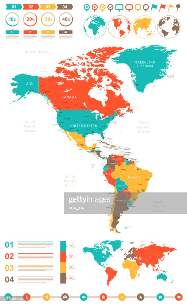 Colored Map Of Canada.Colored Infographic Map Of North And South America Stock