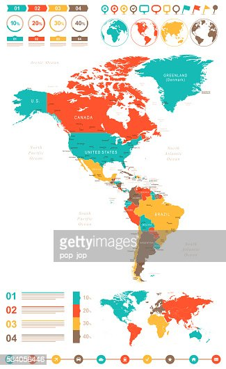 Colored North America Map Vector Art | Getty Images