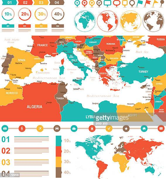 colored infographic mediterranean map - eastern europe stock illustrations, clip art, cartoons, & icons