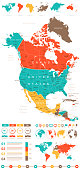 Colored Infographic North America Map