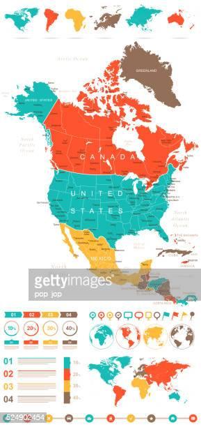 Farbige Infografik Nordamerika Karte