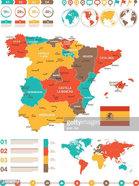 colored infographic spain map - oviedo stock illustrations, clip art, cartoons, & icons