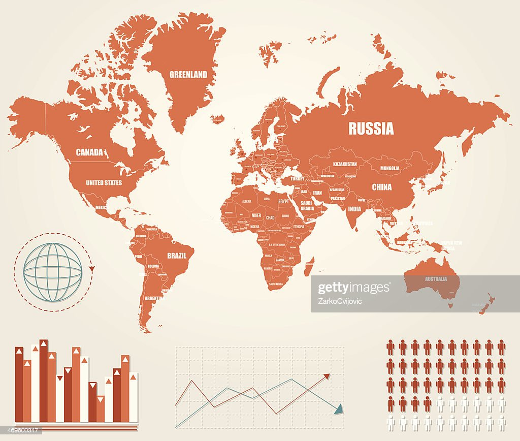 Colored infographic world map with graphs