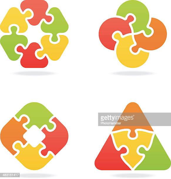 colored jigsaw puzzle set vi - part of stock illustrations, clip art, cartoons, & icons