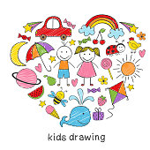 colored kids drawings in form of heart