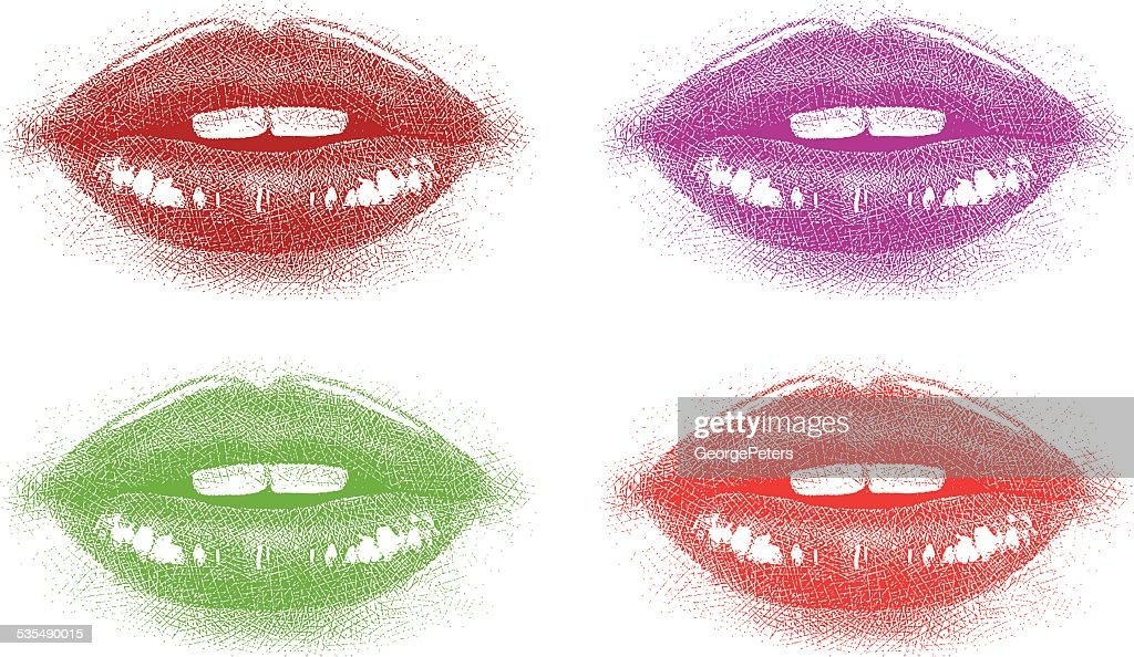 Colored Lips Close Up : stock illustration