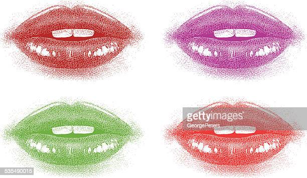 colored lips close up - lip gloss stock illustrations, clip art, cartoons, & icons