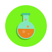 colored liquid in vitro in green badge icon. Element of science and laboratory for mobile concept and web apps. Detailed liquid in vitro icon