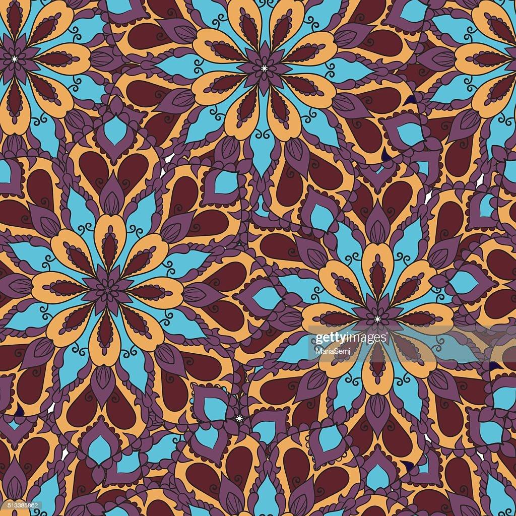 Colored mandala seamless pattern.