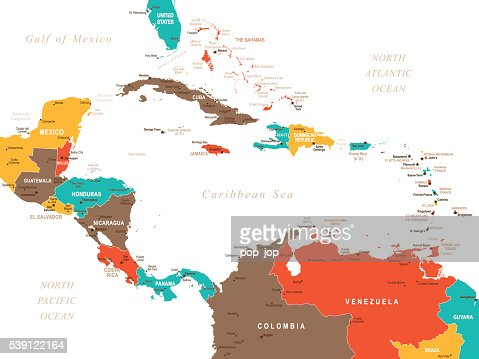 Colored Map Of Central America Vector Art | Getty Images