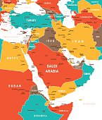 Colored Map of Middle East