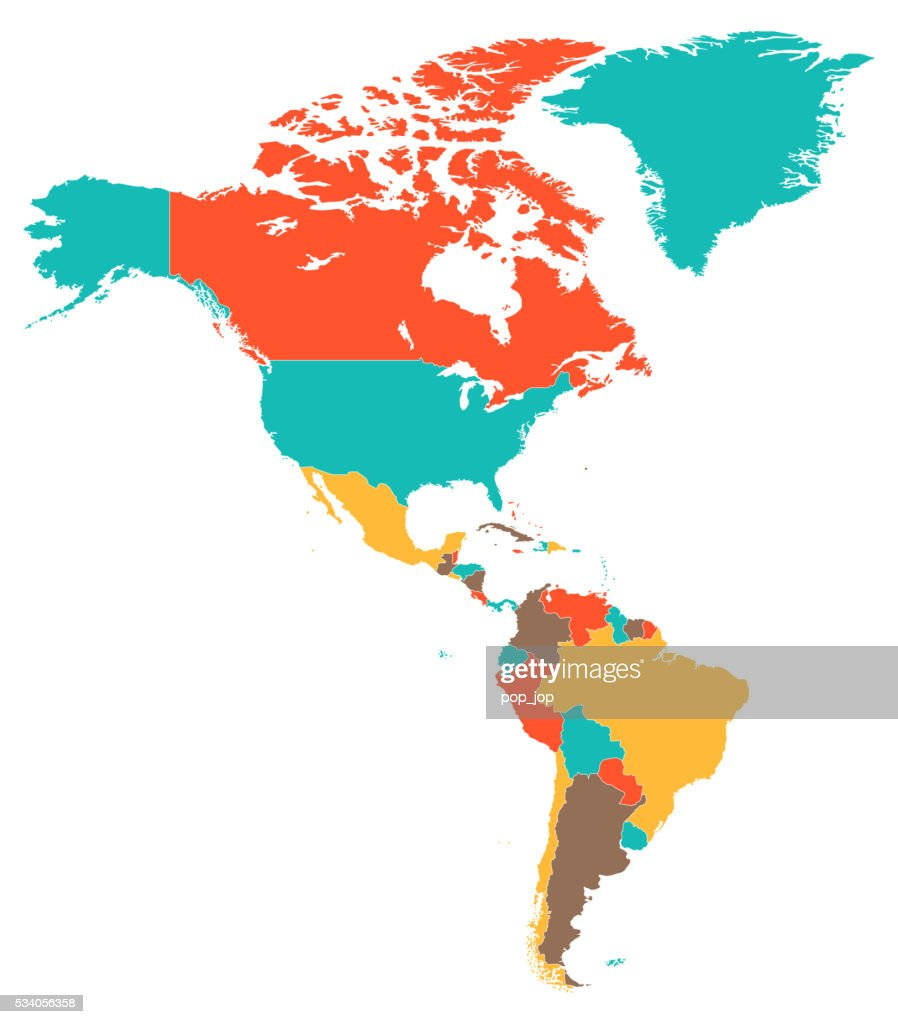 Colored Map Of North And South America Vector Art | Getty Images