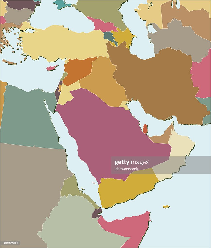 Colored map of the Middle East